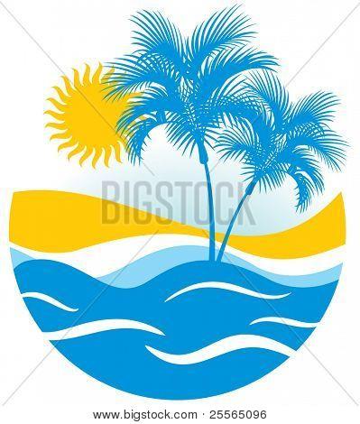 Tropische seelandschaft mit Palm-Baum-Wolken und helle Sonne
