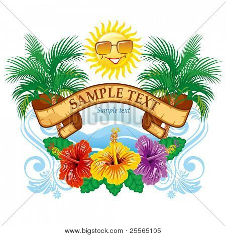 Schöne Vektor tropische Bezeichnung Breite Hibiskus
