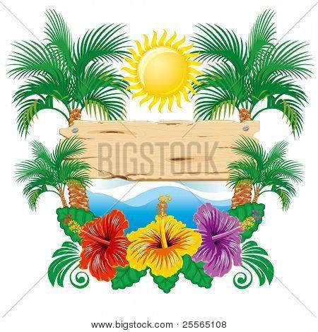 Hibiscus de ancho de etiqueta tropical hermosa vector