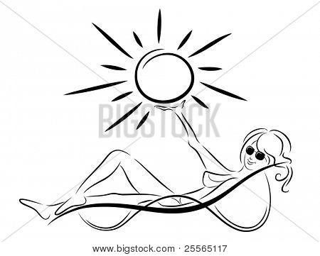 girl in a deckchair on the beach