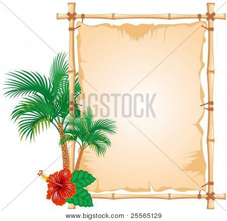 Bamboo Frame with worn Cloth Sign and palm tree