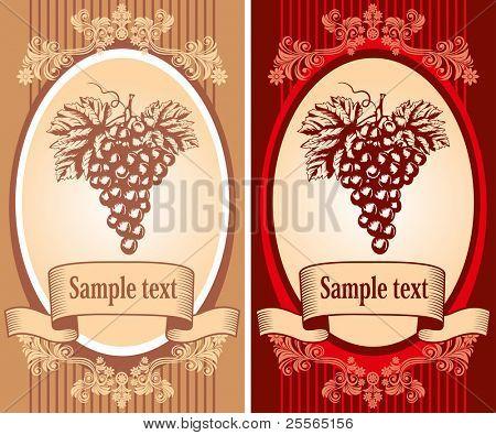 etiqueta de vino con una uva en el estilo antiguo