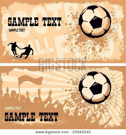 Soccer ball (football) on grunge background with silhouettes of fans, paint splatters and drips
