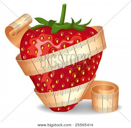 Strawberry wrapped in a measuring tape. Symbol of diet and healthy lifestyle.
