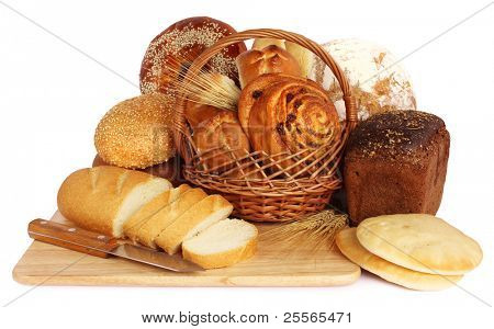 large variety of bread, still life on white background
