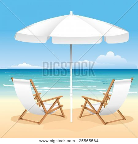 Relaxing scene on a breezy day at the tropical beach; two deck chair and umbrella
