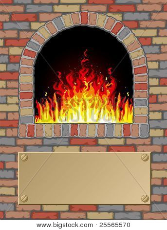 Antique fire place with a signpost for your text