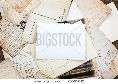 a pile of vintage postcards, background for you text or photo