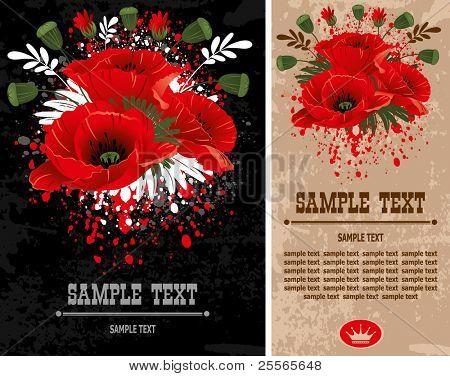 Poppies. Wonderful vector grunge background.