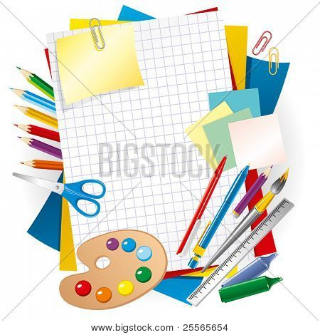 colored paper and pens, back to school background