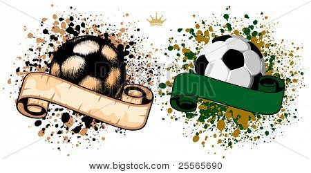Soccer ball (football) on grunge background with paint splatters and drips
