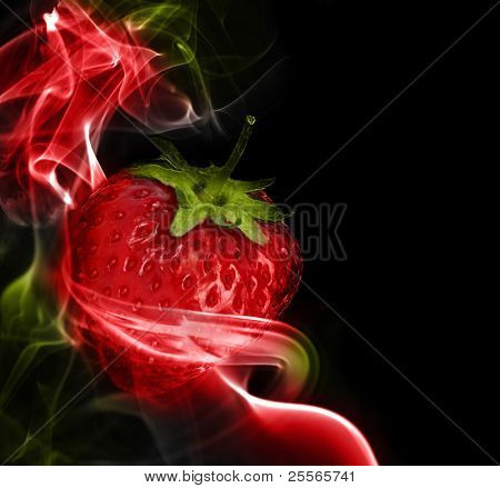 A fantastic strawberry in the colored smoke from aromatic sticks, excellent background
