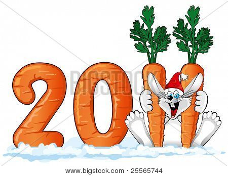 Happy Rabbit in Santa hat with a large carrot (symbol of the new year 2011 )