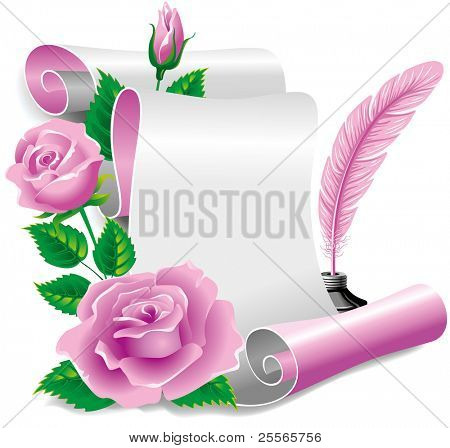 Roll of old paper and feather in the inkwell. Vector illustration, isolated on white background.
