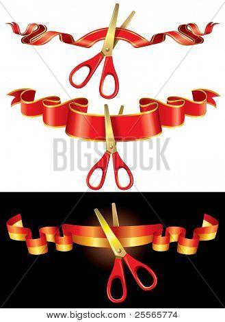 scissors cut off the tape, vector illustration