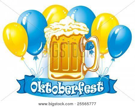 Oktoberfest beer label, detailed vector illustration
