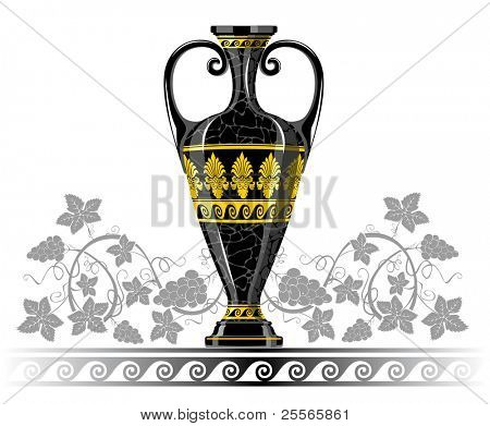 Antique amphora with grapes and leaf, excellent wine background