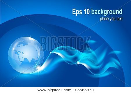 Vector editable fantastic abstract background with a transparent globe