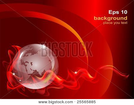 fantastic abstract background with a transparent globe