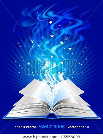 Vector magic book on blue background