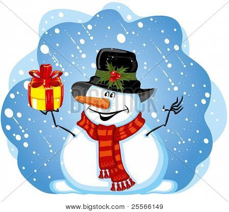 Snowman with gift for you