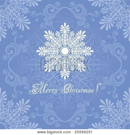 Christmas background with a large snowflake