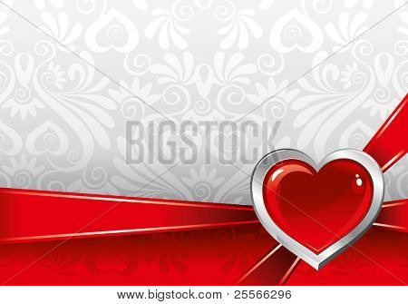 beautiful vector background on Valentine's Day with ornaments and heart