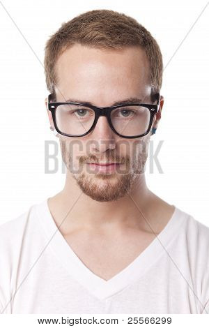 Good Looking Man With With Retro Nerd Glasses