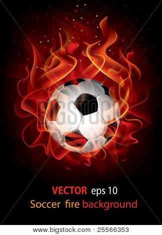 Vector editable fantastic football background with a flaming soccer ball