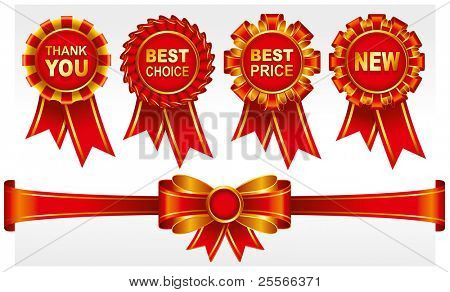 Set of red badges with ribbons