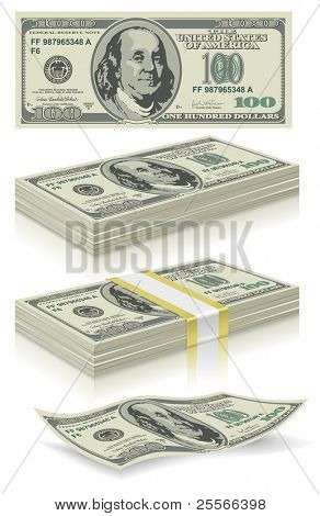 collection of dollar bills in the package and without, vector editable