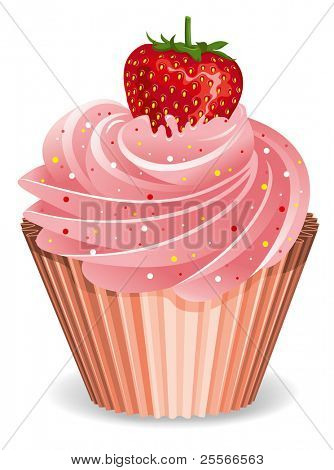 Vector illustration of classic cupcake with strawberry