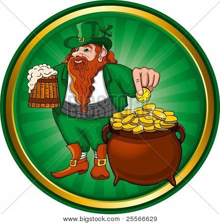 St. Patrick's Day, Leprechaun with mug beer and pot of gold. Vector image.