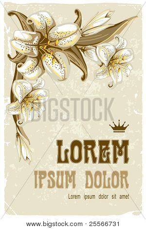 Wonderful vintage background with lilies, vector illustration