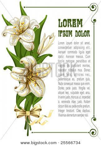 Wonderful bouquet with lilies and space for your text, vector illustration