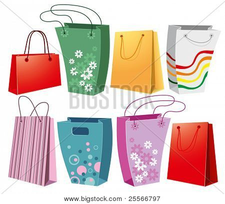 Set of shopping bags in different shapes and colors