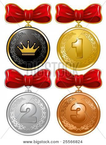 Gold, Silver, Bronze and Royal Medals with red bow