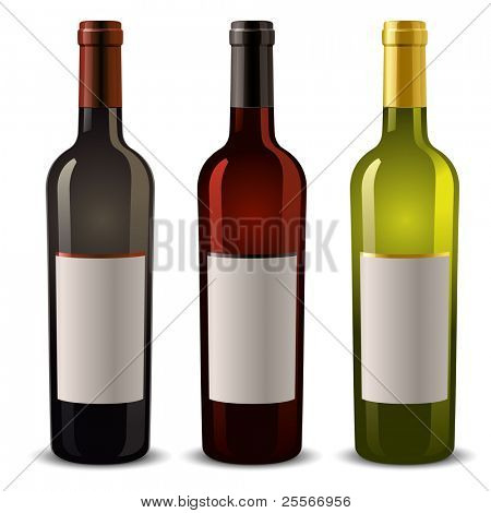 wine bottles with blank label