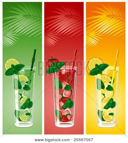Refreshing mojito cocktails, lime, strawberry and orange with mint