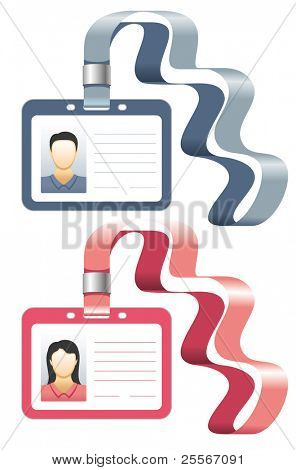 Vector holder for badge or id cards