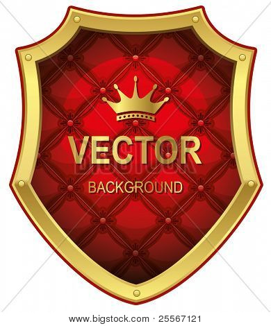 Golden shield with red leather upholstery. Vector Illustration.