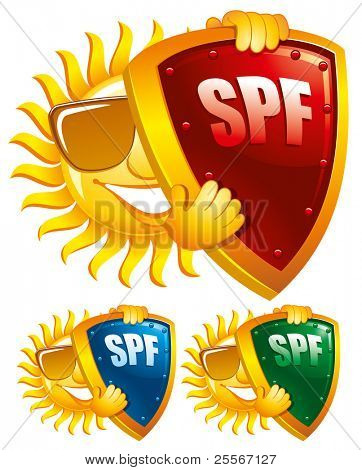 Símbolo de la protección del sol, Ilustración de vector creativo. Puede ser utilizado como un icono.