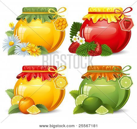 Marmalade and honey in cute jars, home-made. Isolated on white.