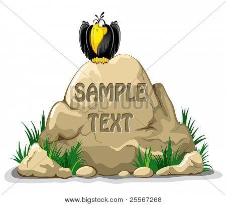 Großer Felsen mit Meldung am Scheideweg. An der Spitze sitzt ein fröhlich Rabe.