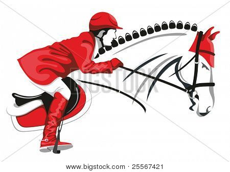 Show Jumping. Jockey on a beautiful black horse jumps over a barrier.