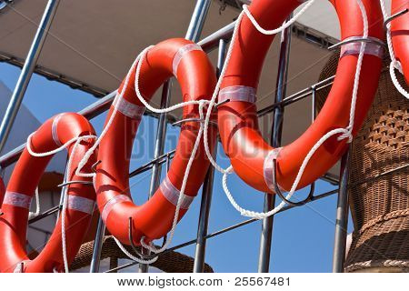 Life buoys on a cruise ship