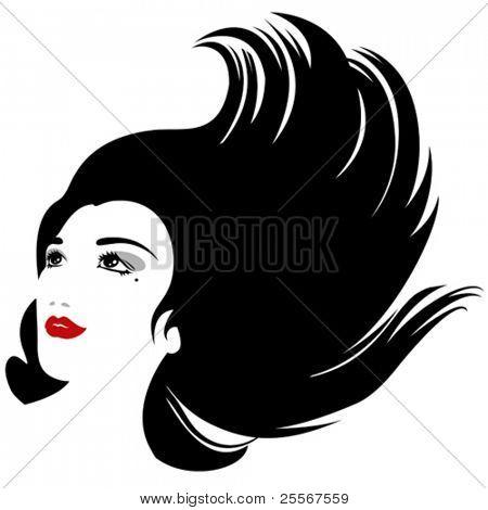 silueta de mujer aislada con flujo pelo para diseño de productos cosméticos (versión VECTOR)
