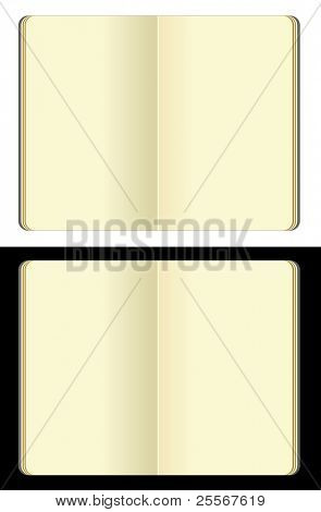 opened blank moleskine note books - soft pages texture - isolated on black and white