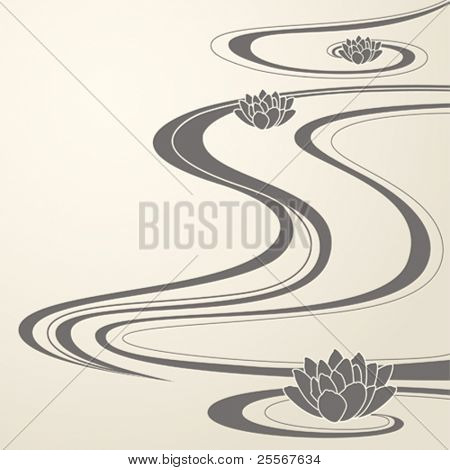 elegant background with abstract water waves and lotuses