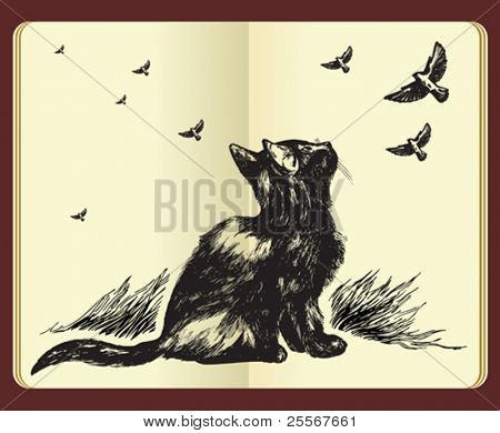 Hand drawn cat looking up at flying birds in the sky - high quality drawing